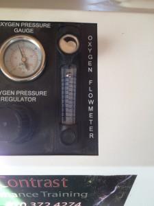 Flow meter should be set to just below top fill level